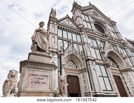 Monument Of Dante And Basilica Di Santa Croce