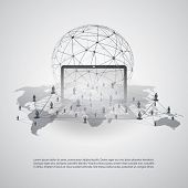 Abstract Cloud Computing and Global Network Connections Concept Design with Transparent Geometric Me poster