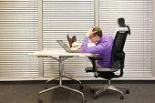 bad sitting posture at workstation - man with legs on desk poster