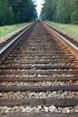 stock photo of train track  - looking down the tracks - JPG
