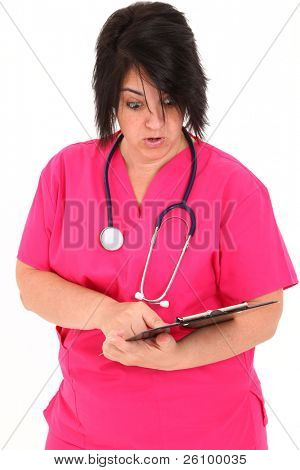 Attractive over weight forty year old french american woman over white with clipboard.