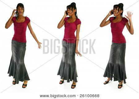 Beautiful 15 year old african american teenager with cellphone over white background.