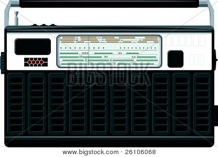 Vector Illustration Of A Portable Radio In A Black Casing.  Eps10