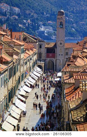 Stradun, main street of Dubrovnik, Croatia