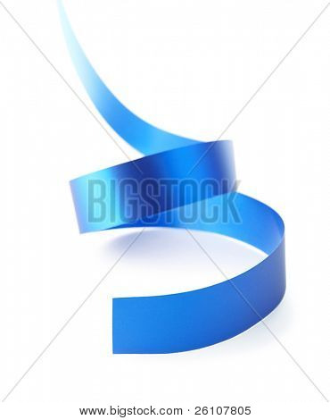 Curved blue paper ribbon isolated on white. Closeup. Celebratory image.
