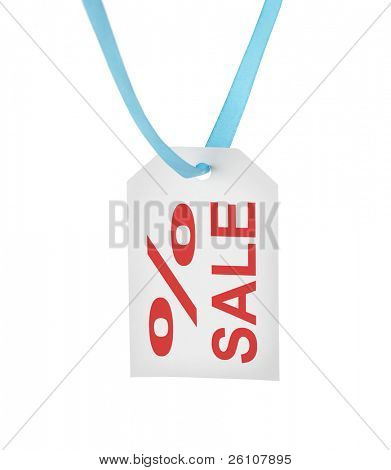 White paper tag with sale text. Isolated on white.