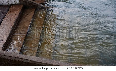 flood stairs in water