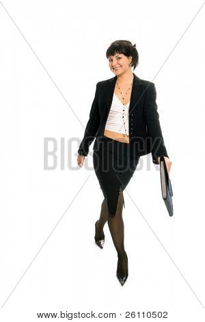 beauty brunette business lady on white background