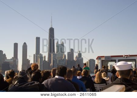 Chicago Sightseers On Lake Michigan