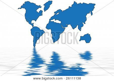 blue world map in water