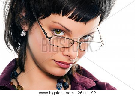 portrait young pretty girl in glasses on white background