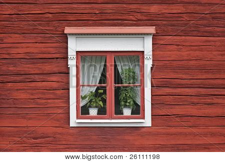 Cute Window On Red Wall