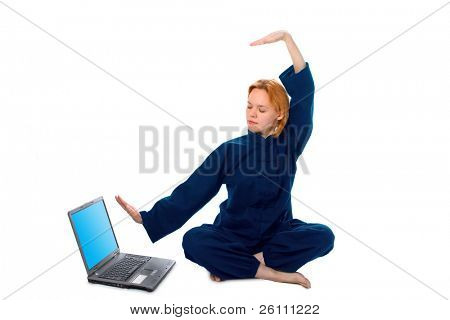 young woman in kimono attend yoga with laptop on white background