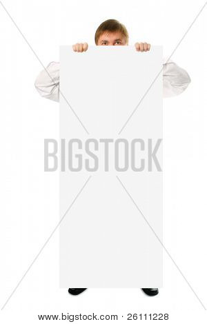 businessman hold in hand big white poster on white background