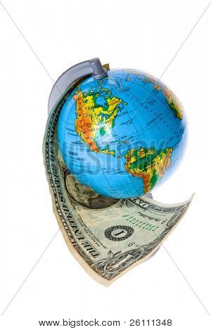 globe and american money on white background
