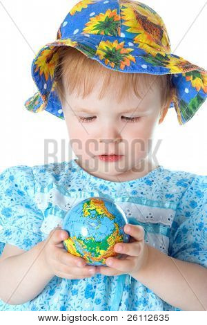 beauty baby with globe over white