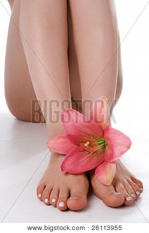 beauty woman legs with pink lily on white