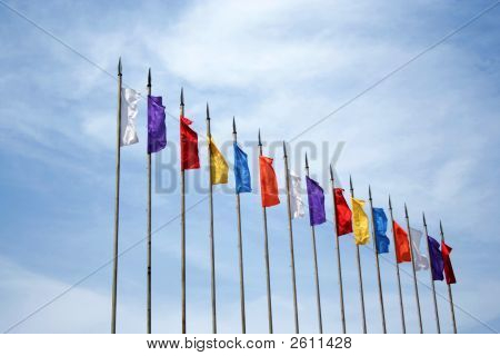 Colored Flags On Sky