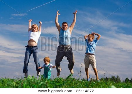 jump happy family on blue sky