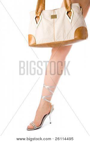 Frau Bein und Tasche over white background