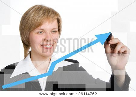 business woman draw graph blue arrow over white background