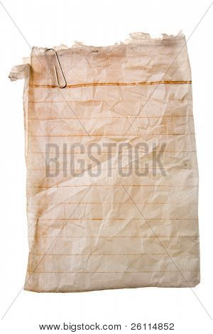 old paper with paper-clip on white background