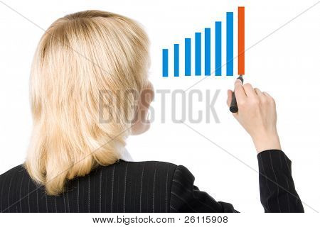 business woman stand back and draw graph over white background