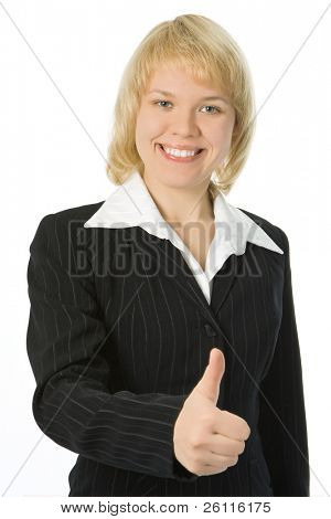 business woman sign OK over white background