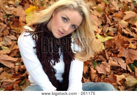 portrait of an attractive young woman on fallen leaves