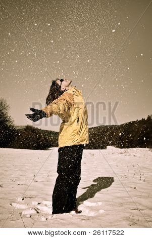 Woman Enjoys Winter In Snow