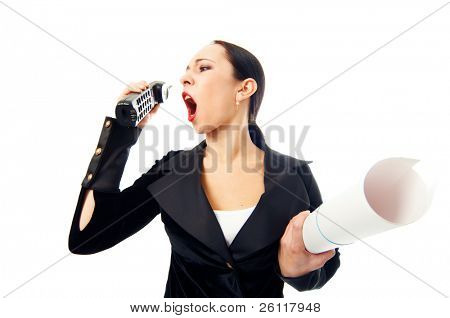 business woman scream to phone with paper roll on white