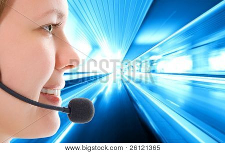 woman with microphone on abstract moving background