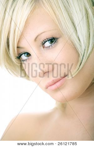 closeup portrait beauty blonde woman on white background