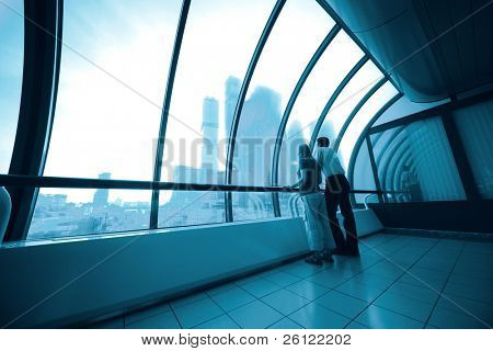 business interior from glass in blue