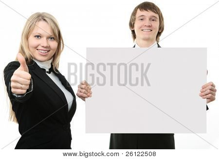 Two young people holding a white sign  on white background