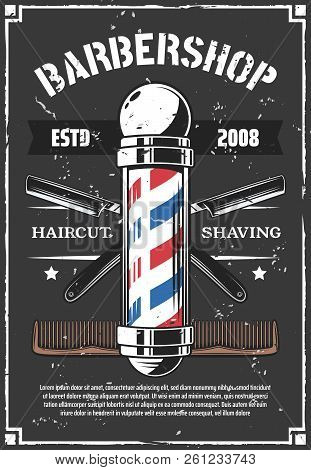 poster of Barbershop Retro Poster With Sharp Old Razor. Haircut And Beard Styling, Shaving Salon For Men Or Hi