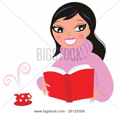 Beautiful Woman Reading Book From Red Library Isolate On White..