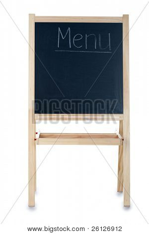 blackboard concept with menu written in white chalk