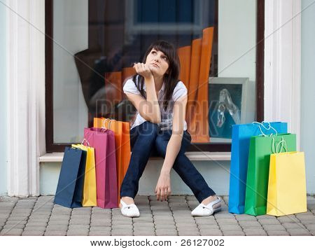 beauty woman om shopping in the city