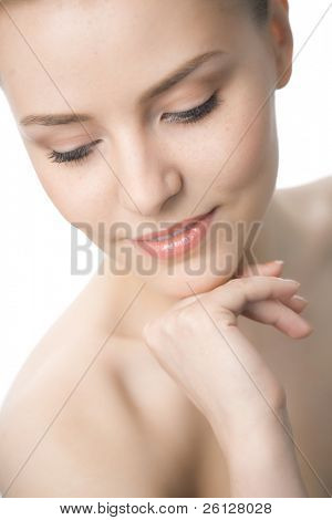 beauty woman closeup face on white background