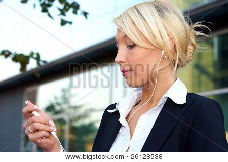 Young Businesswoman Listening