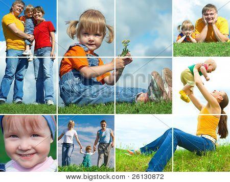 família feliz montagem outdoor quadro