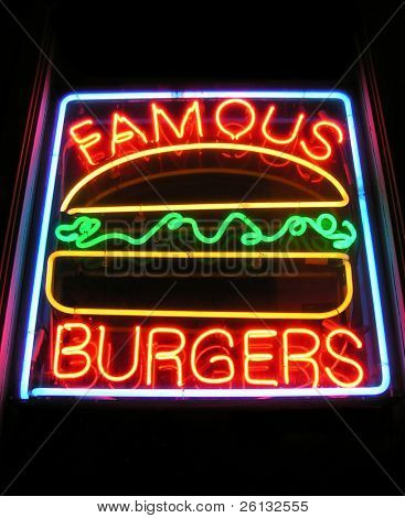 Famous Burgers sign at a drive-in restaurant