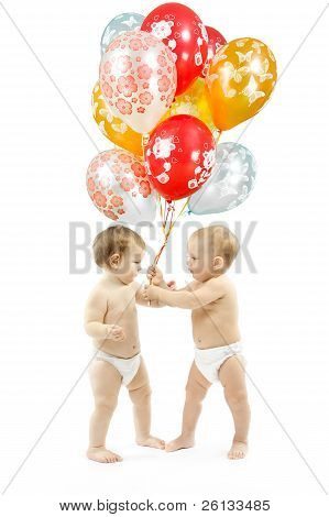 Small Children Present Colorful Balloons Over White Background
