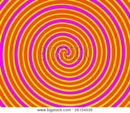 Dizzying spiralling lines in orange and yellow