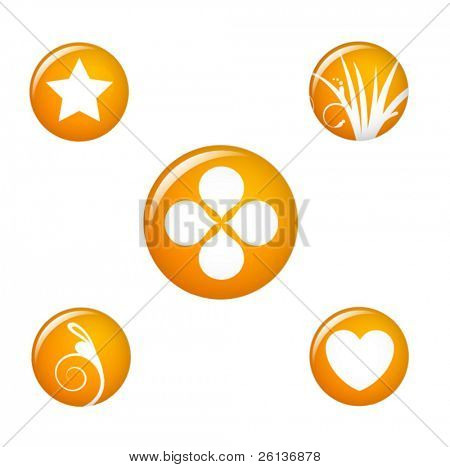orange icons and symbols