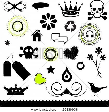 Set of Shapes - Skulls, Crowns, Abstract, Birds, Flowers etc...