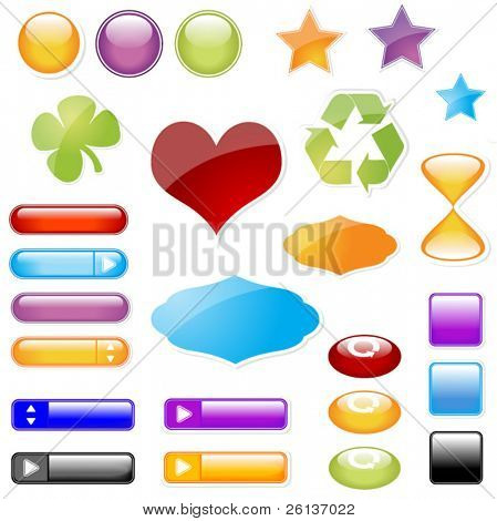 Glossy Symbols Stickers and Buttons