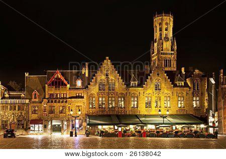 Bourg Square At Night, Bruges. Belgium