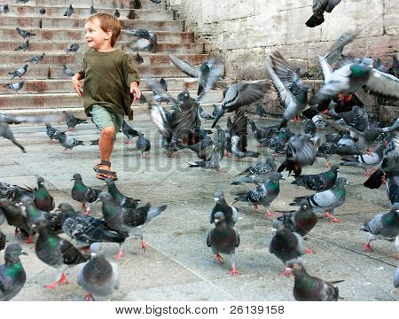 happy boy running among pigeons
